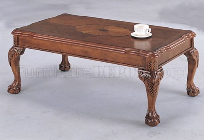 Deep brown traditional coffee table with shell design inlays Traditional coffee table