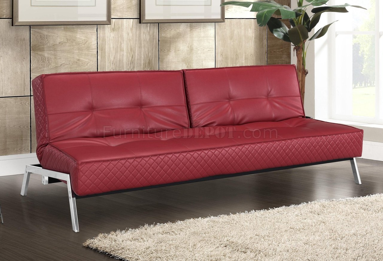 Red Bonded Leather Modern Convertible Sofa Bed W Chrome Legs
