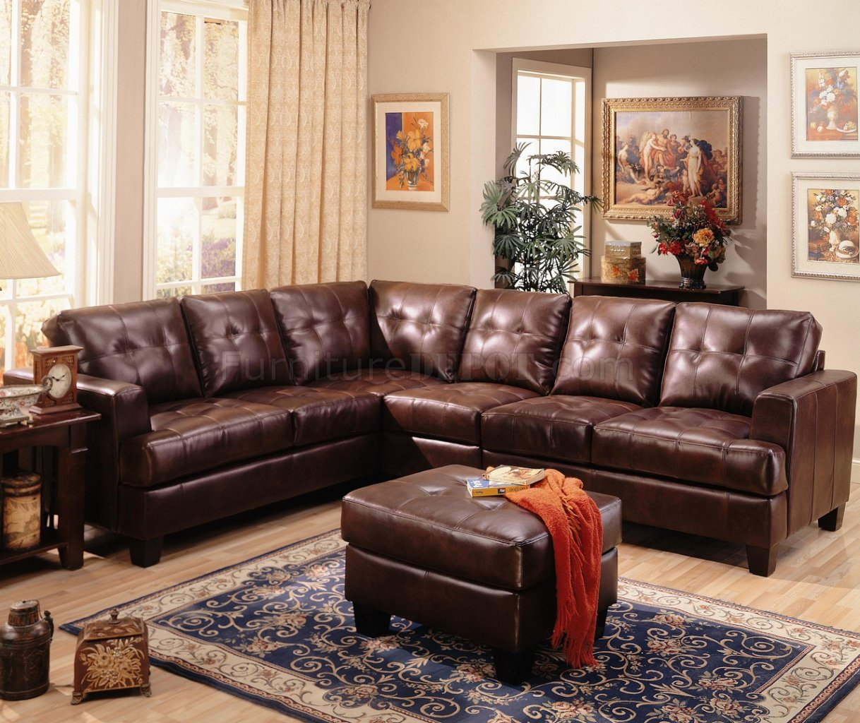 Samuel Modern Leather Sectional Sofa 500911 Brown