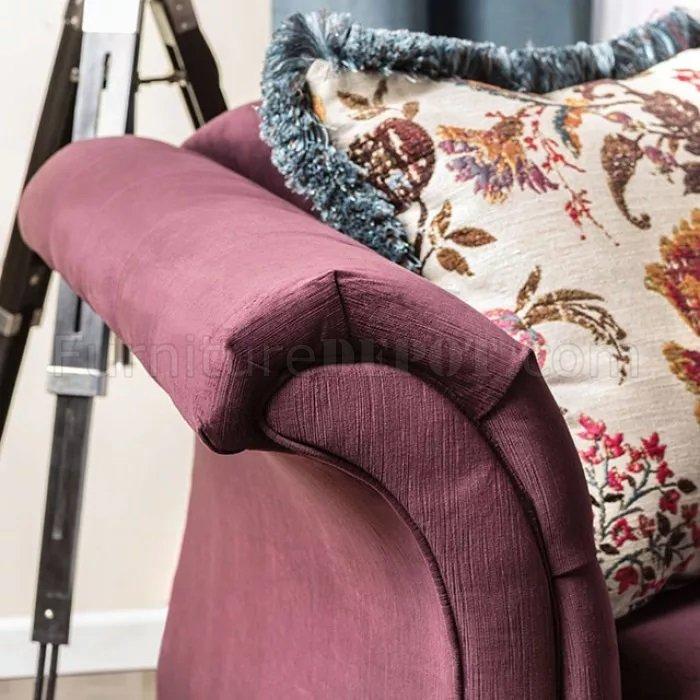 Rotterdam SM2262 Sectional Sofa in Plum Velvet Fabric