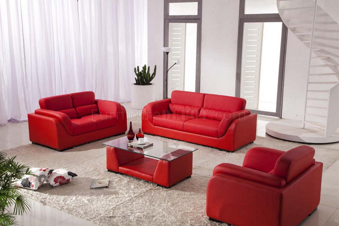 Red Bonded Leather Contemporary 3Pc Sofa Set w/Coffee Table
