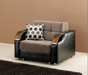 Caprio Chair Bed in Brown Chanille Fabric