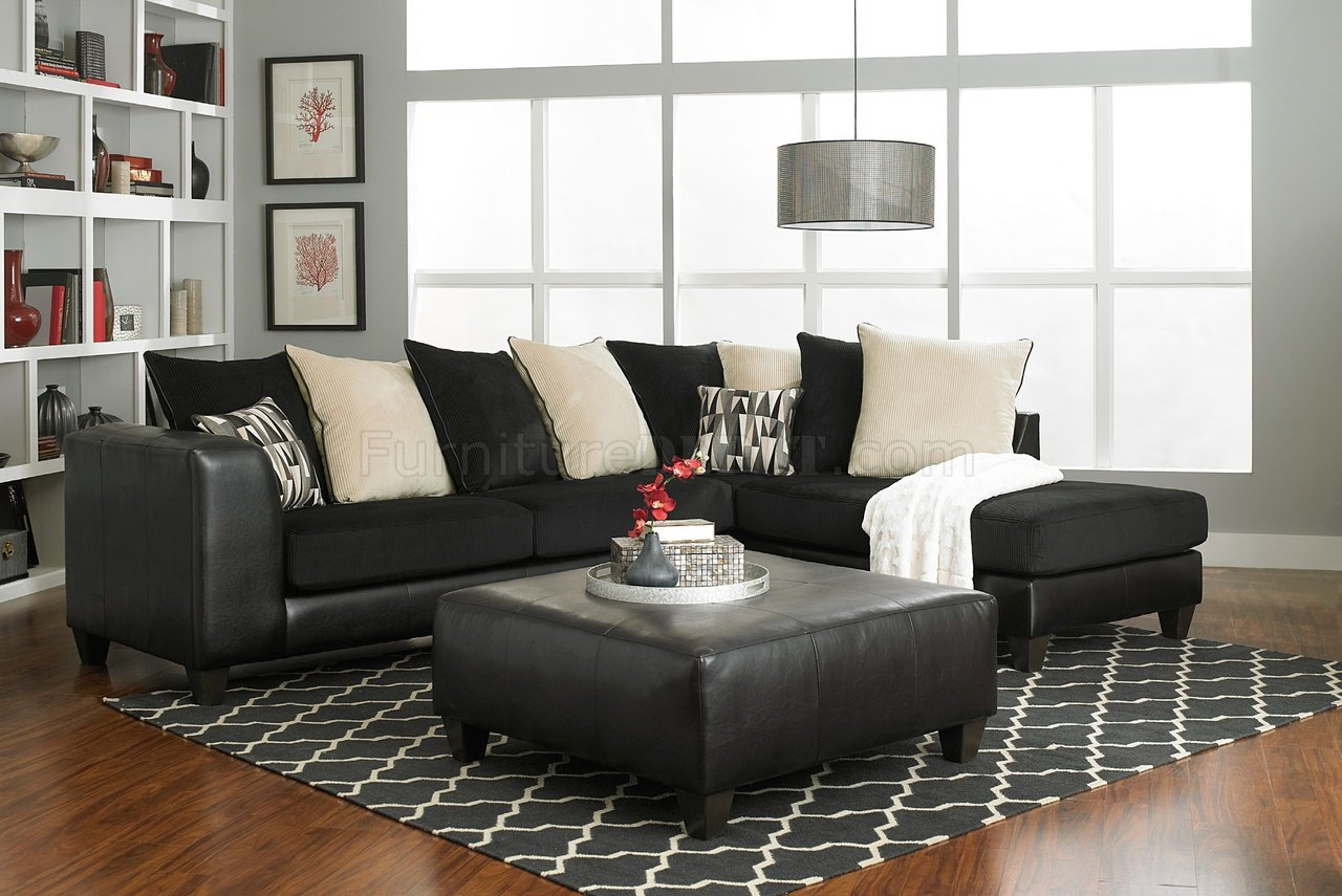 superior quality acf1d fa2ef 4500 Sectional Sofa in Black Corduroy Fabric & Bi Cast
