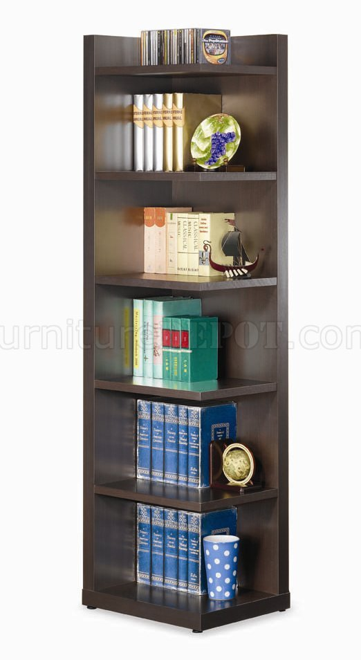 Cappuccino finish modern corner bookcase w six shelves for Modern corner bookshelf