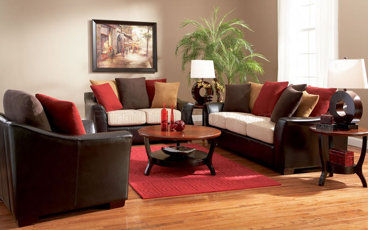 Two Tone Contemporary Living Room Sofa W Multi Color Pillows
