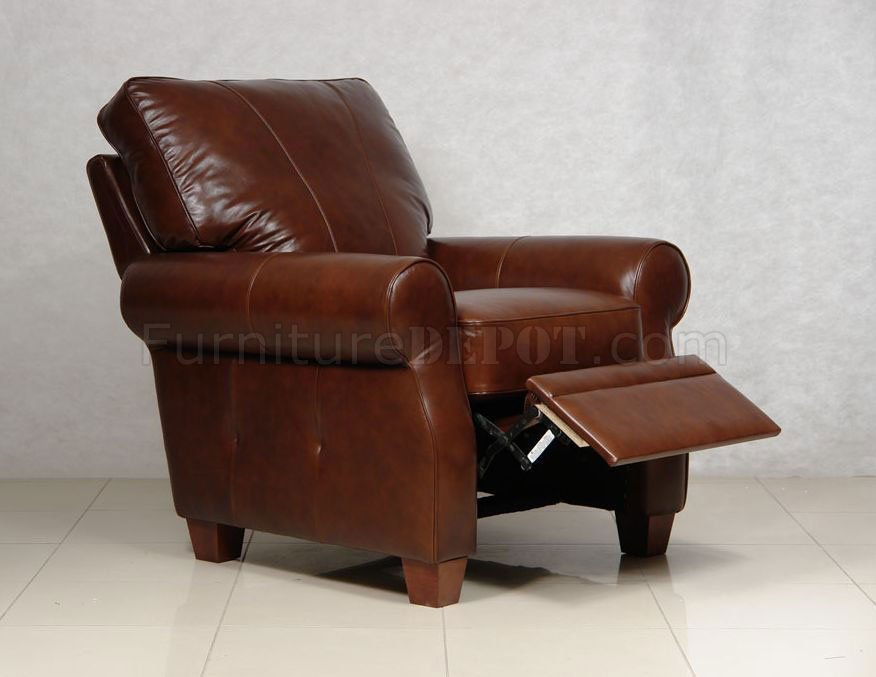 Dark Caramel Full Italian Leather Pushback Recliner Chair : push back leather recliner - islam-shia.org