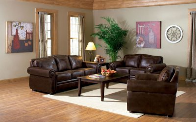 Traditional Living Room  on Brown Leather Look Fabric Traditional Living Room W Options At