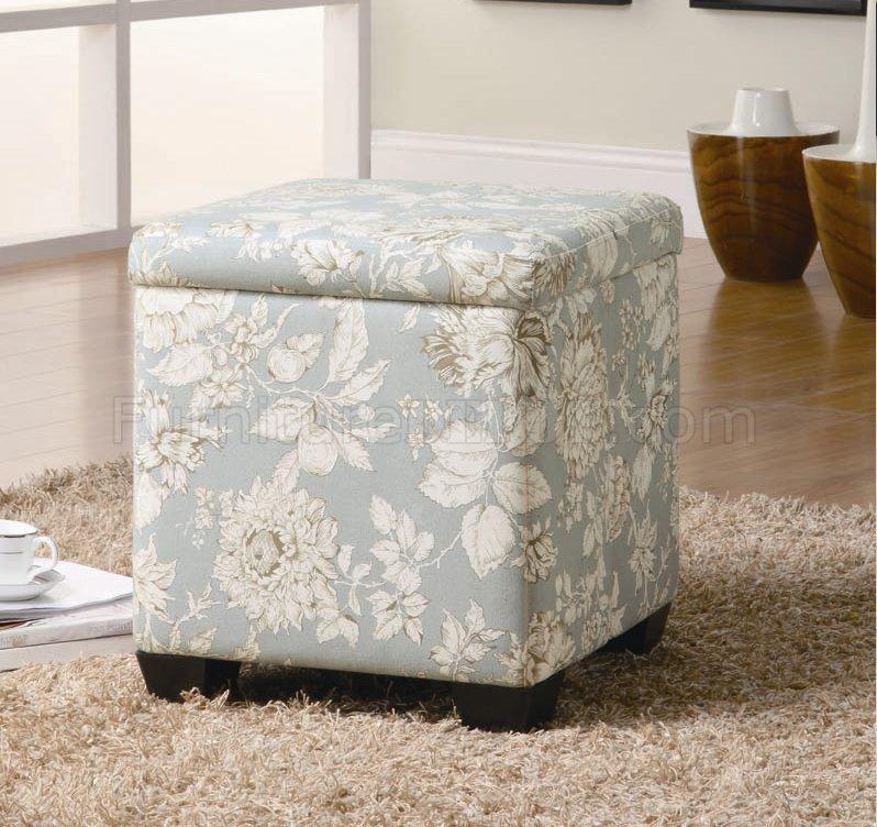 flower pattern fabric modern storage ottoman w wood legs