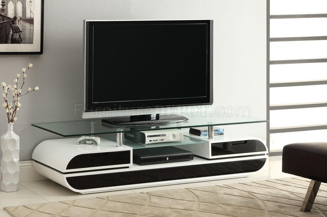 Cm5813 evos tv console in white black w glass top White tv console