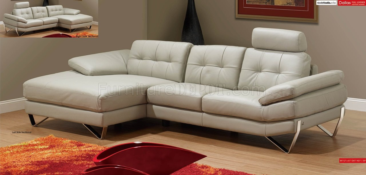 Light Grey Leather Modern Sectional Sofa w/Removable Headrests