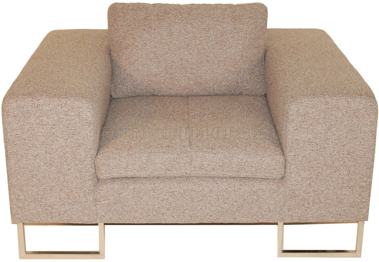 Gray Fabric Modern Chair W High Polished Metal Frame