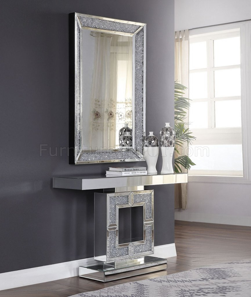 Contemporary Bedroom Set London Black By Acme Furniture: Noralie Console Table W/Mirror 90450 In Mirror By Acme