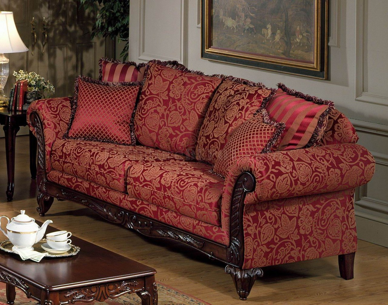 Red Fabric Traditional Sofa Loveseat Set W Optional Chaise