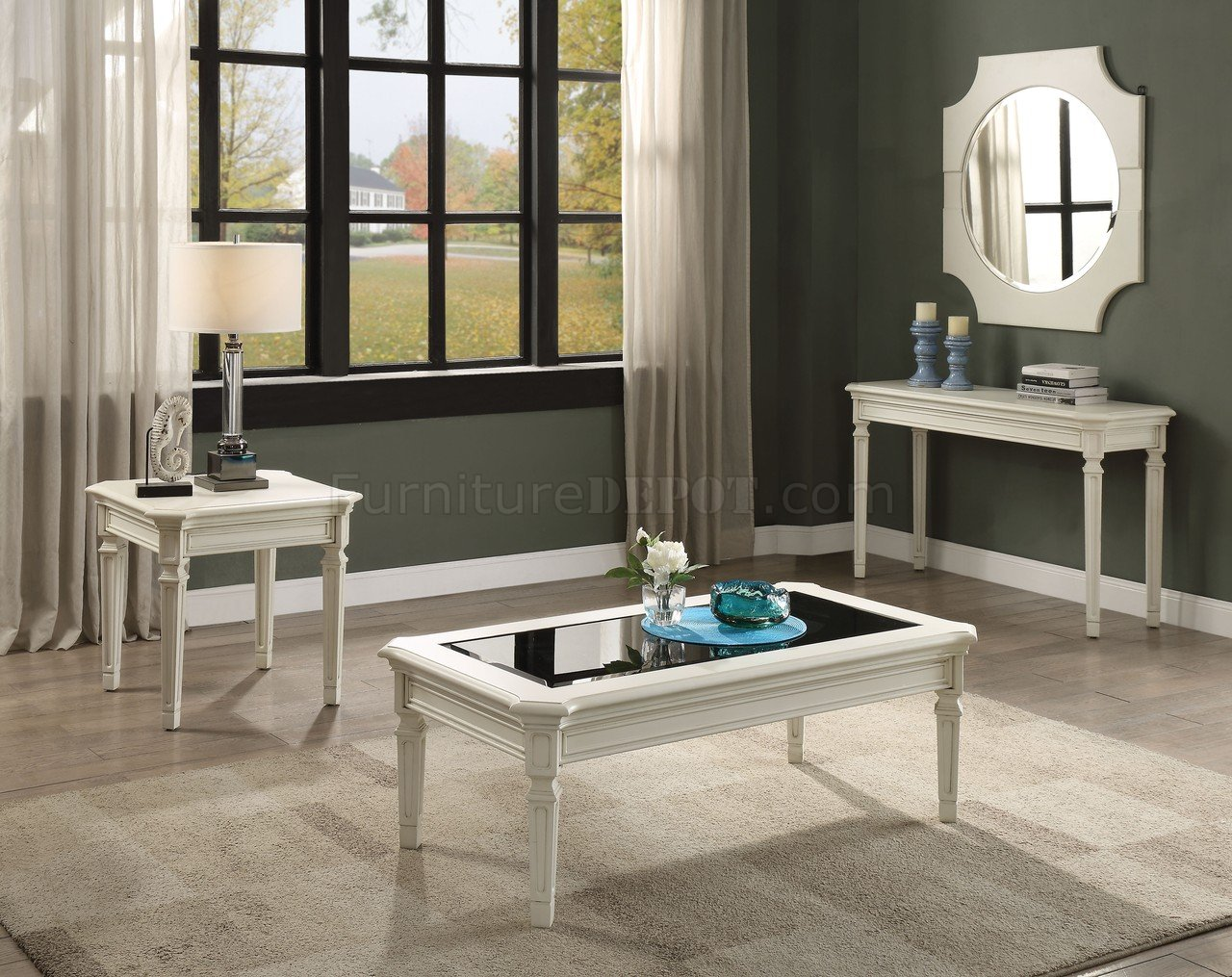 Contemporary Bedroom Set London Black By Acme Furniture: Florissa 3Pc Coffee Table Set 83090 In Antique White By Acme