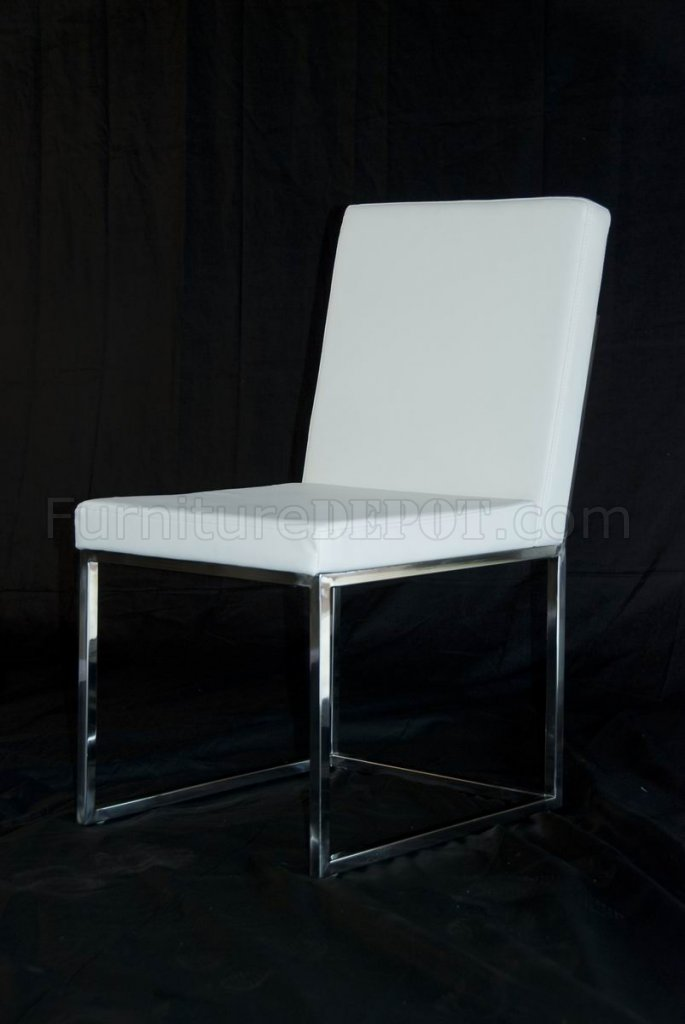 White Leather Match Set Of 4 Modern Dining Chairs W Metal Legs