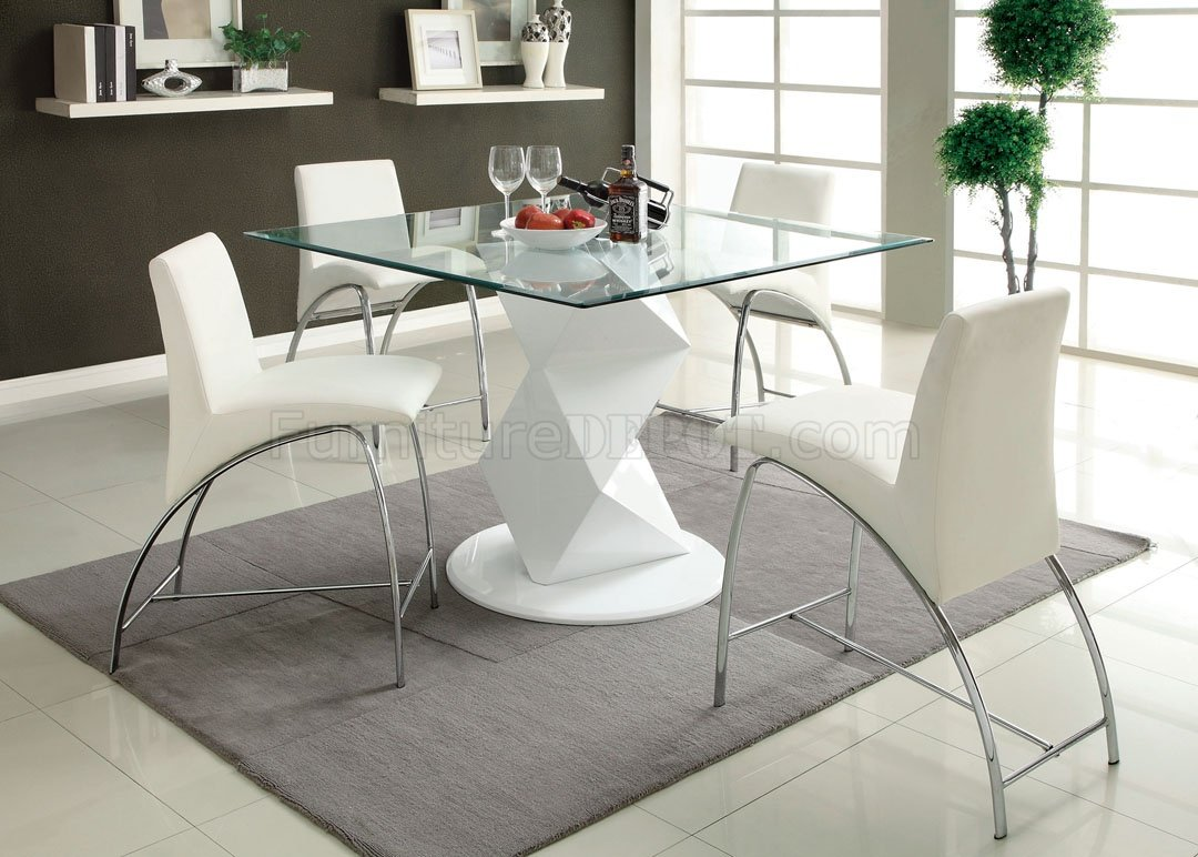 Cm8335wh Pt Halava Iii White 5pc Counter Height Dinette Set