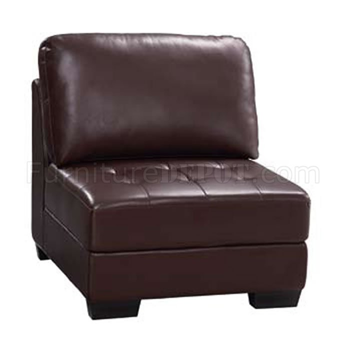 Brown Leather Elegant Contemporary Living Room With Tufted Seats