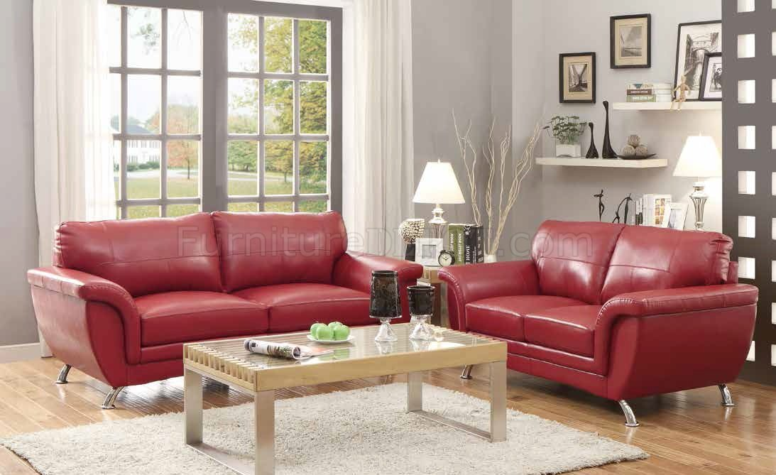 8523 Chaska Sofa In Red Bonded Leather Match By Homelegance