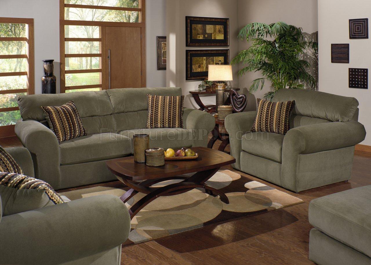 New Sage Fabric Transitional Sofa & Loveseat Set w/Options PI87