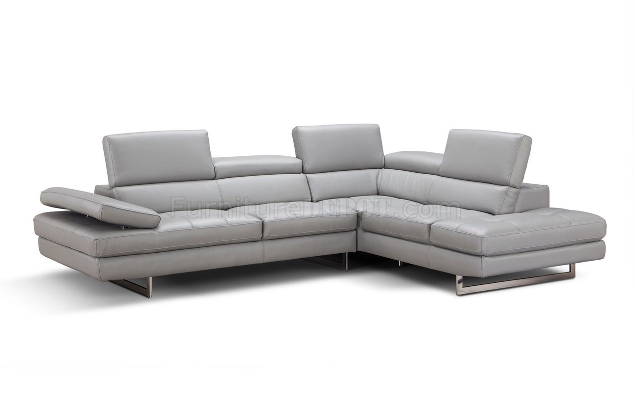 Aurora sectional sofa in light grey premium leather by j m for Light gray leather sofa