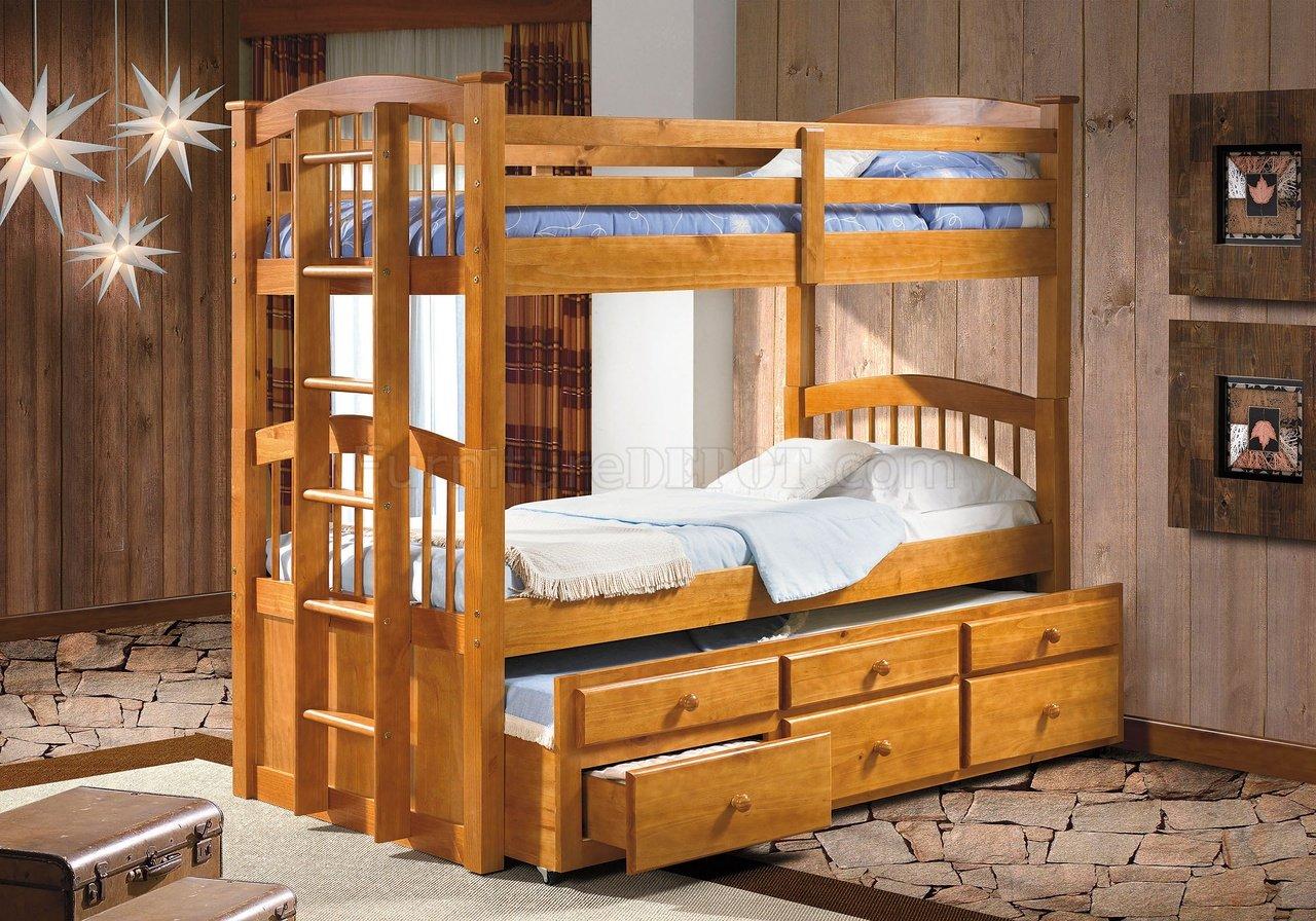 Solid Pine Contemporary Twin Tri-Plex Bunk Bed