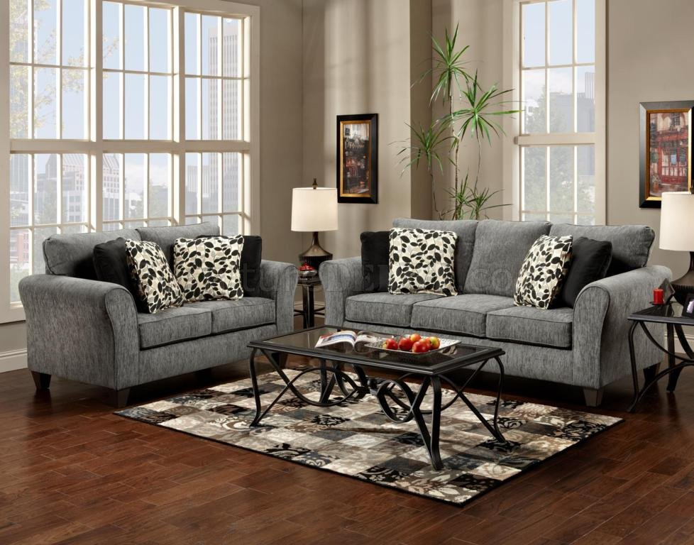 Grey fabric modern sofa loveseat set w options for Gray couch living room ideas