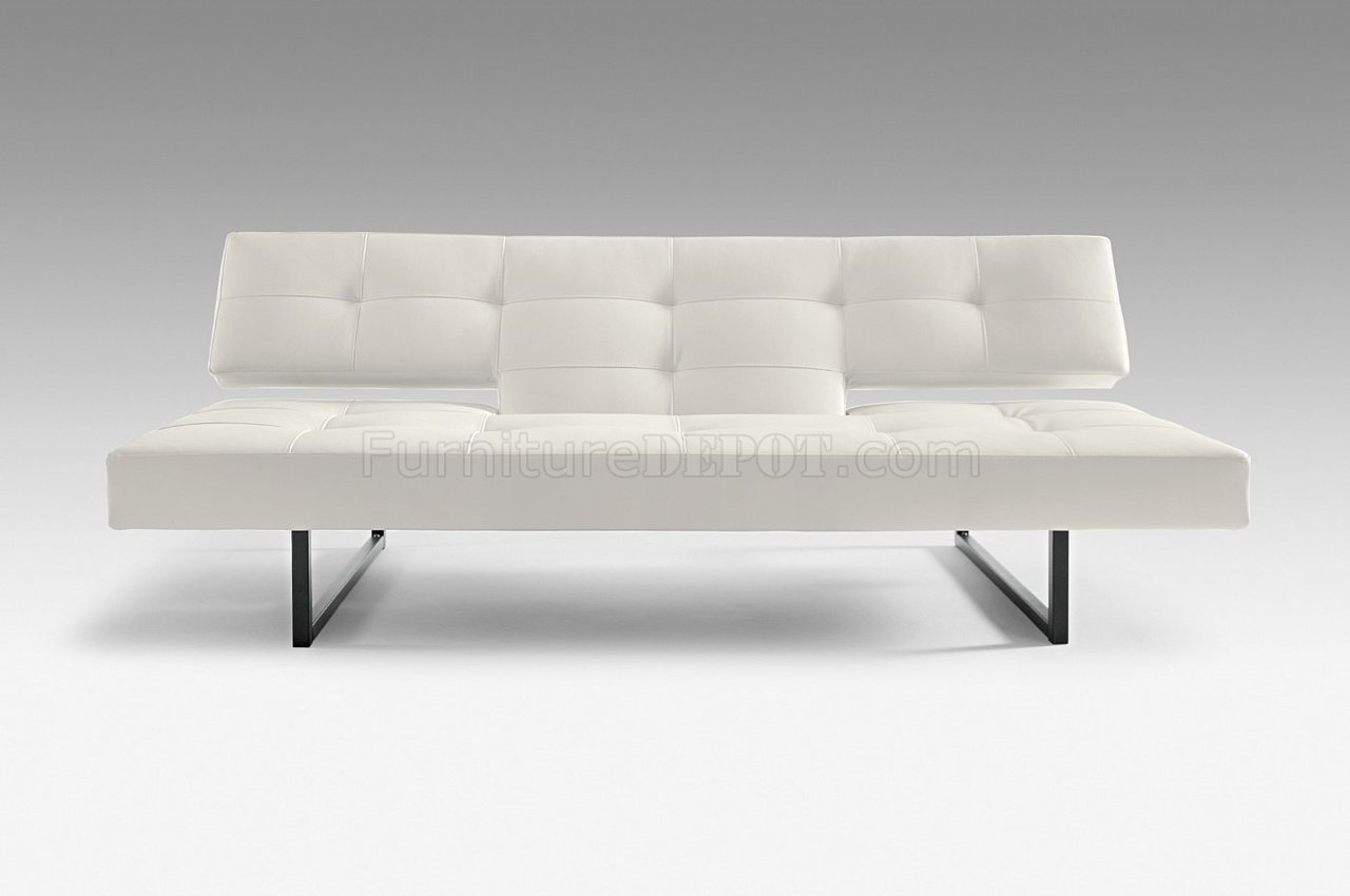 White Or Black Leatherette Modern Sofa Bed Convertible