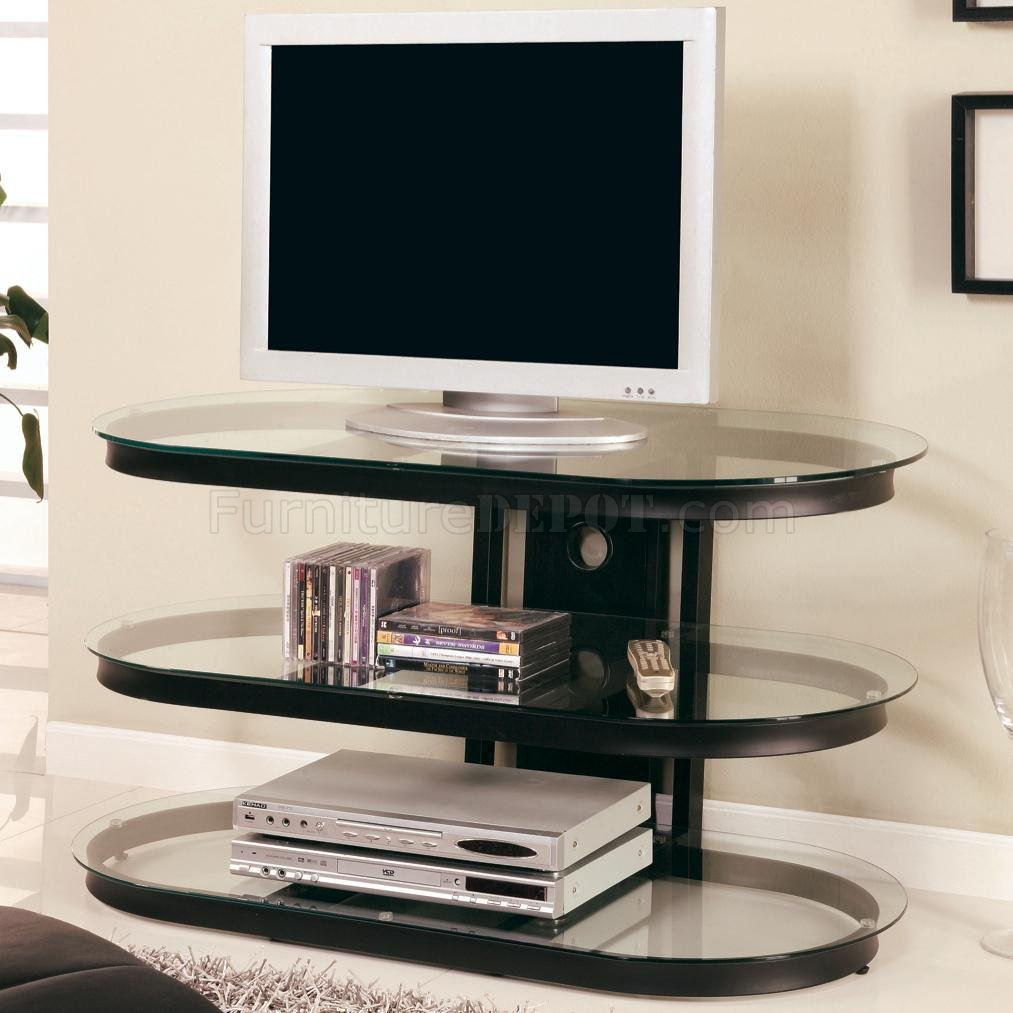 Black Metal Frame Modern Tv Stand W Three Glass Shelves