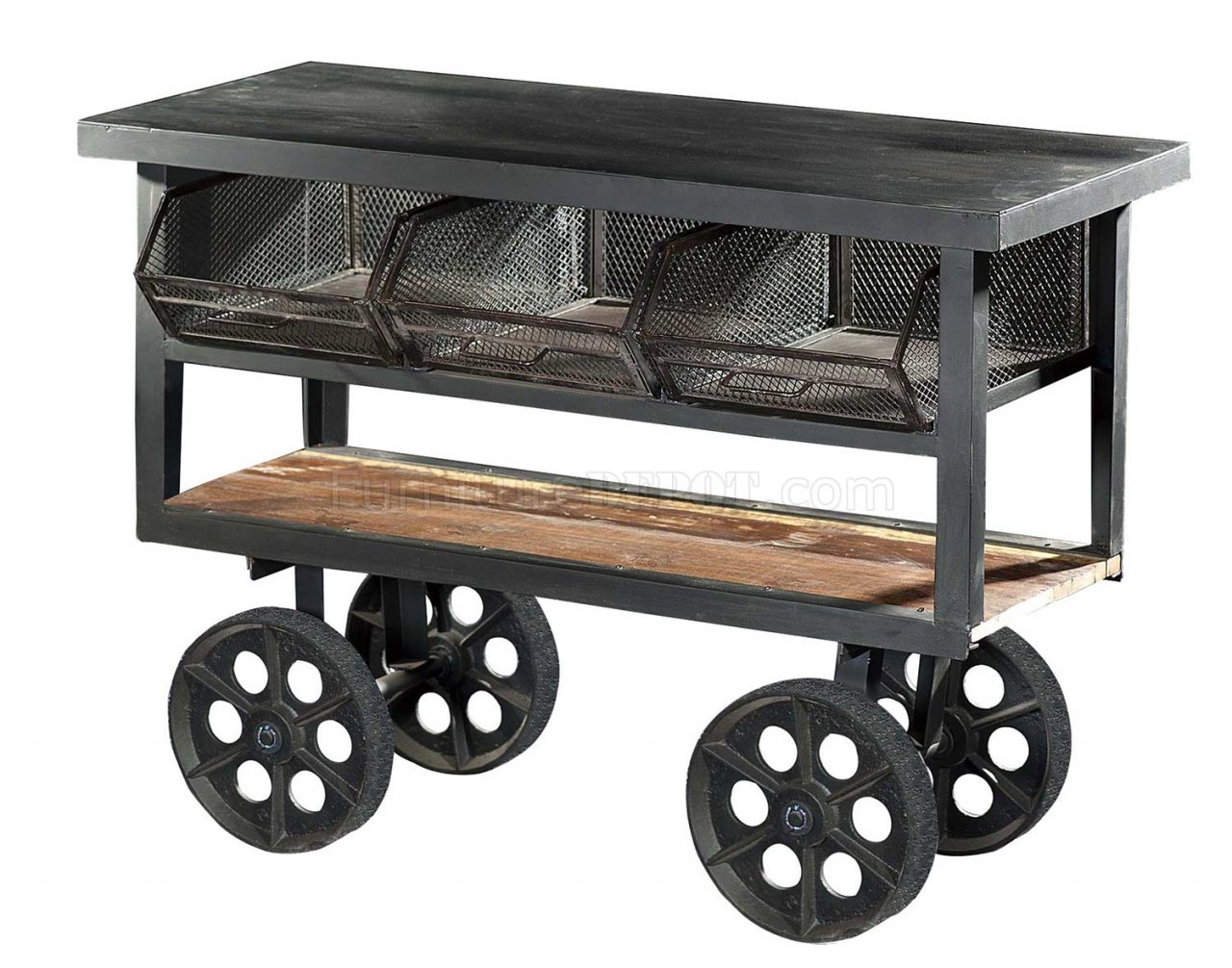 Amara 6411 Iron Kitchen Cart With Wheels By Homelegance