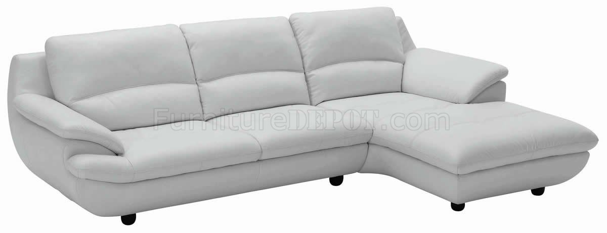 Light grey full leather contemporary elegant sectional sofa for Light gray leather sofa