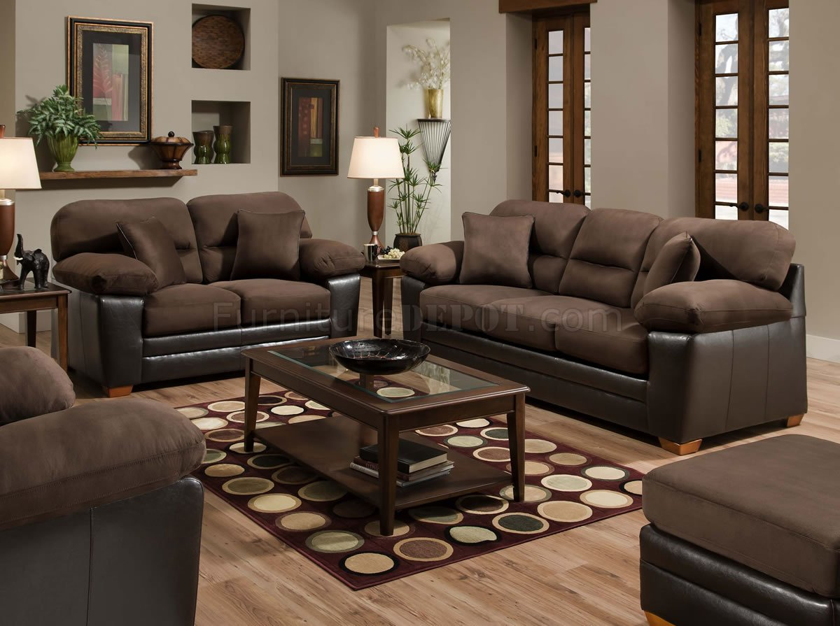 Brown Godiva Microfiber Sofa Amp Loveseat Set W Accent Pillows