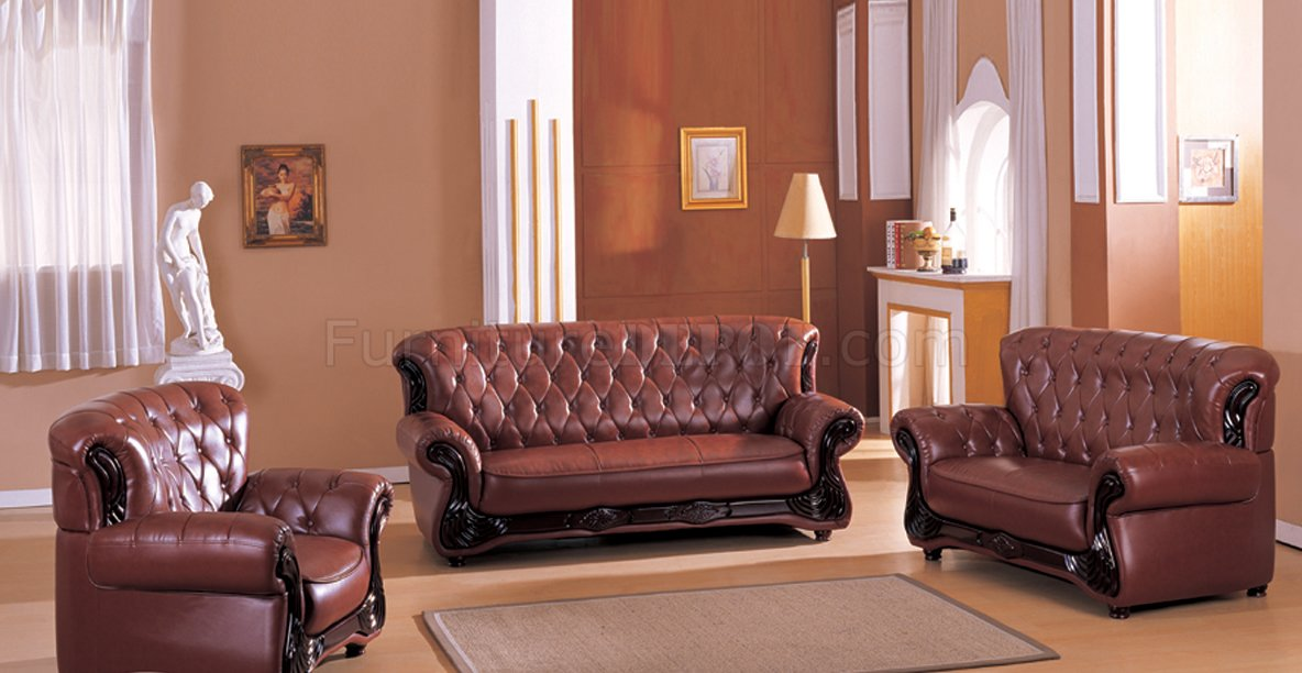 Dark Brown Bonded Leather Living Room W/Button-Tufted Backs
