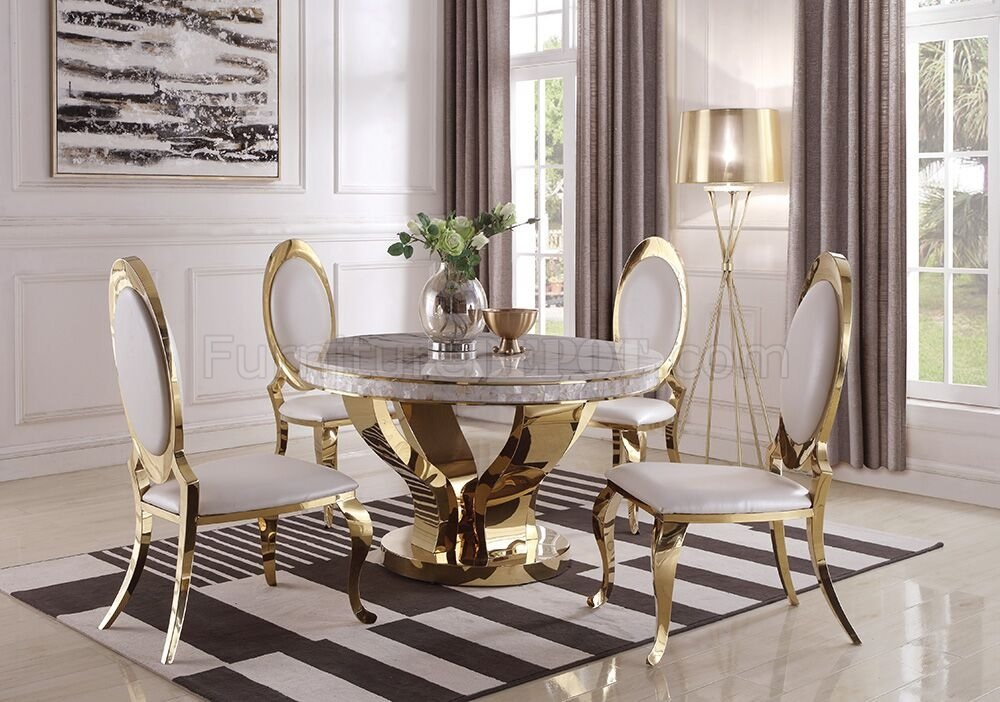 Kendall Dining Table 190381 In Gold By Coaster W Options