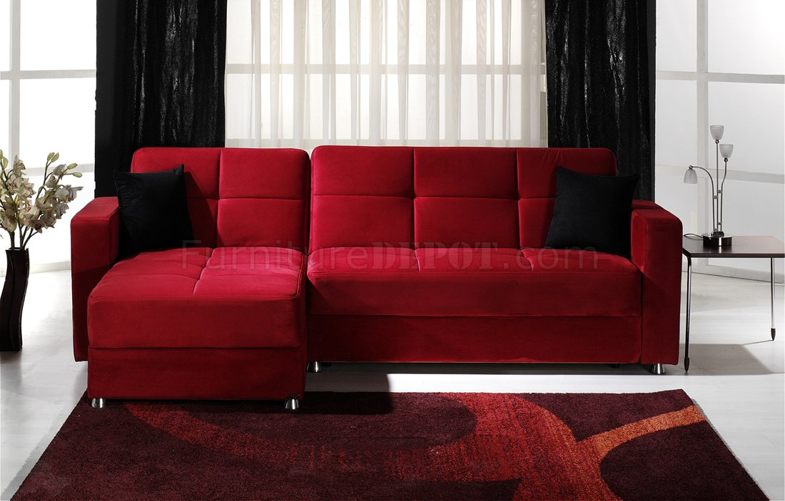 Elegant Convertible Sectional Sofa W Storages In Red