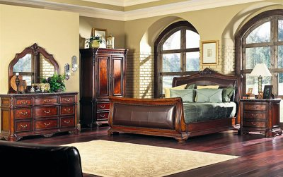 Classic Leather Furniture on Finish Classic Bedroom W Sleigh Bed   Leather At Furniture Depot