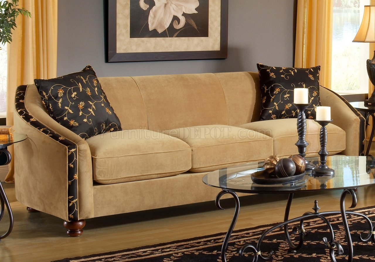 Bella Coffee Beige Fabric Living Room Sofa Amp Loveseat Set