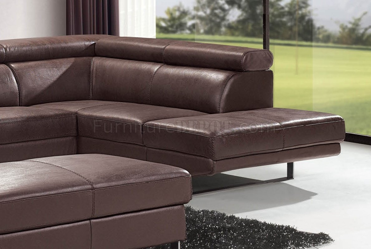 Brown Top Grain Full Leather Modern Sectional Sofa W Metal