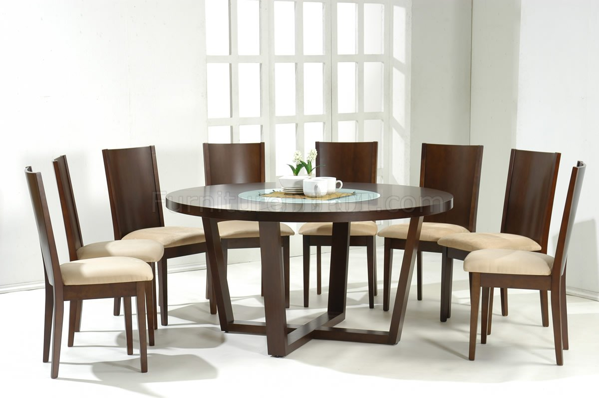 Dark walnut modern round dining table w glass inlay for Modern dining room table