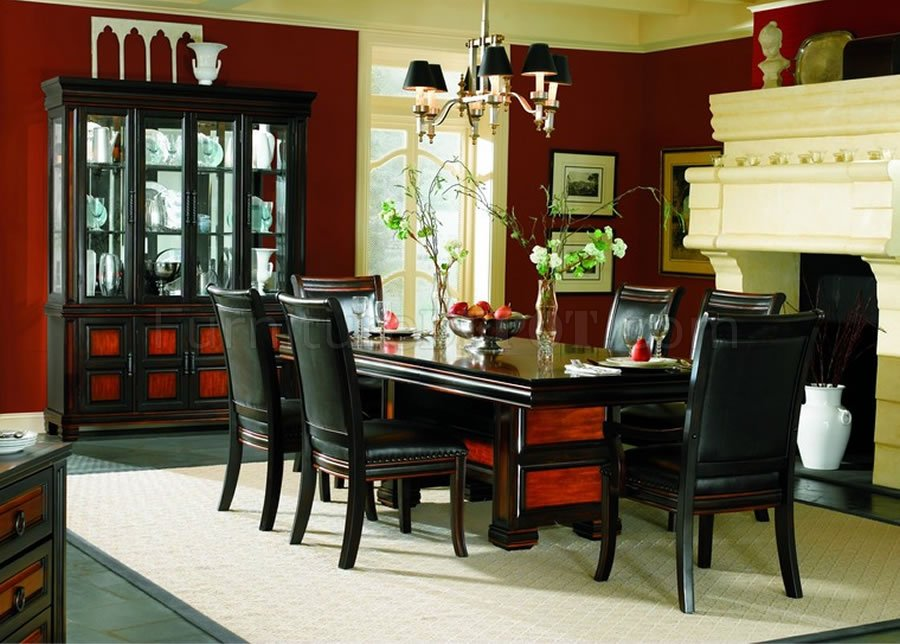 Two tone finish formal dining room set with leather seats for 2 tone dining room sets