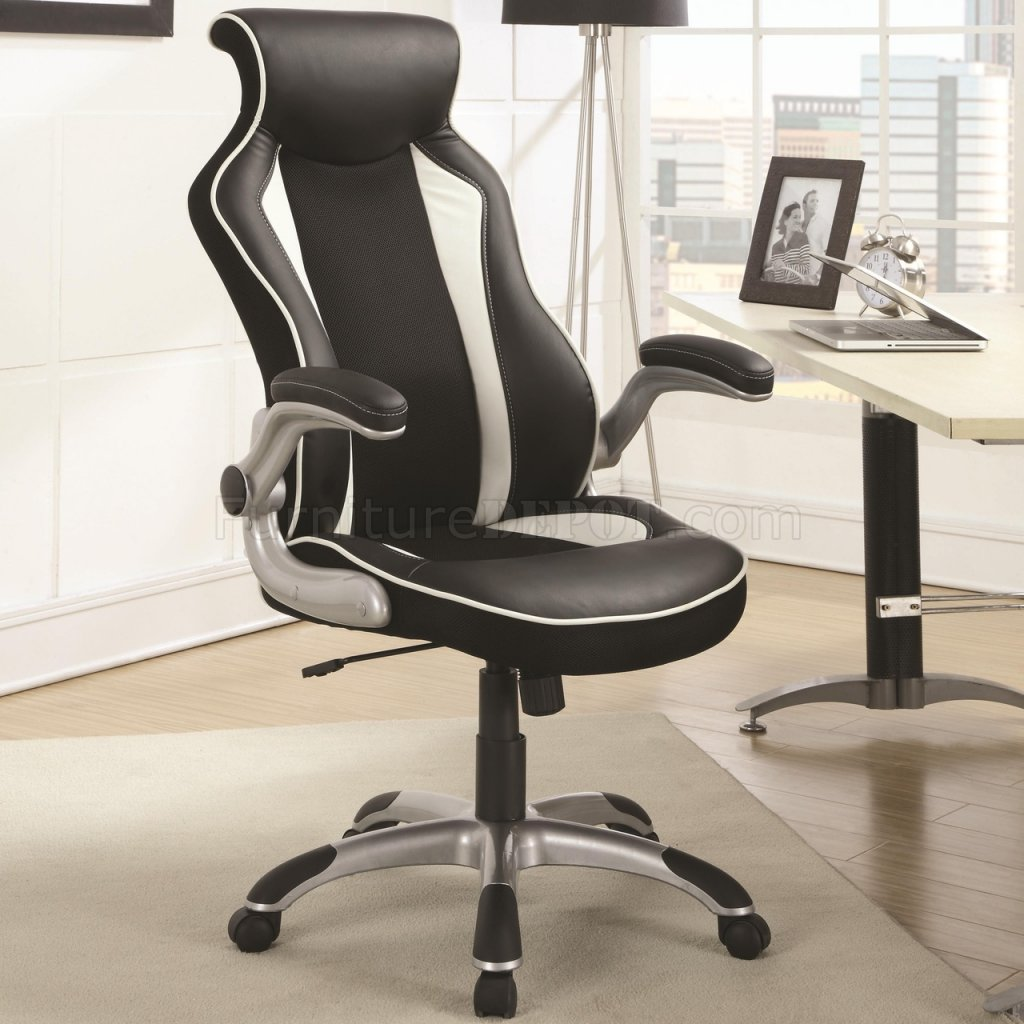 800048 office chair in black vinyl by coaster. Black Bedroom Furniture Sets. Home Design Ideas