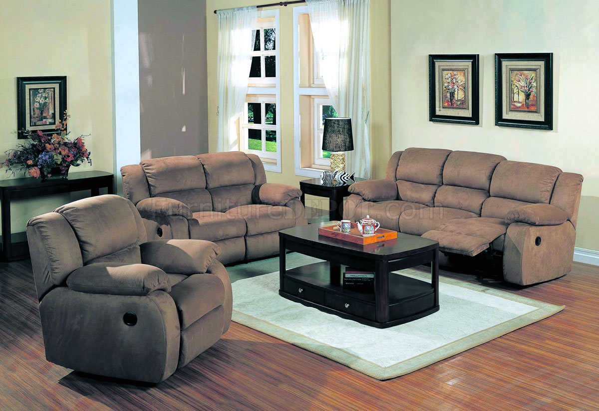 Saddle Microfiber Stylish Living Room W Recliner Seats