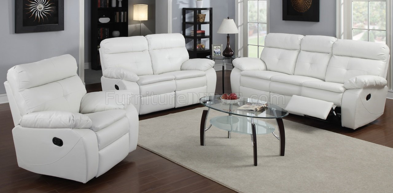 Loveseat In White Bonded Leather By Glory