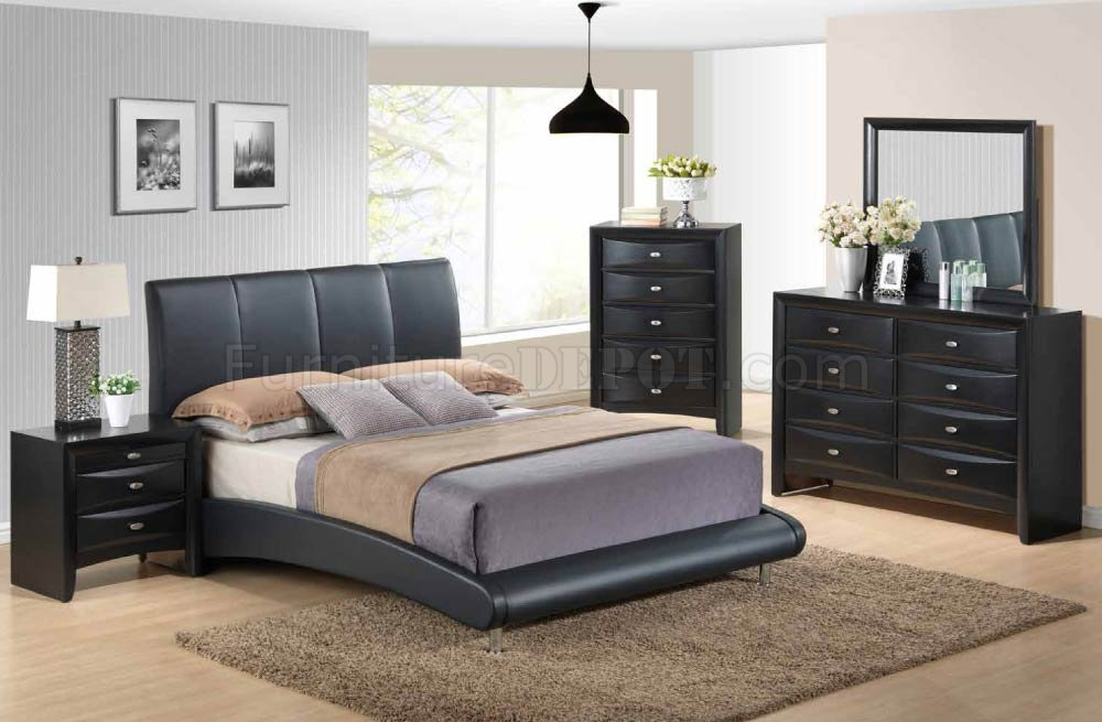 8272 linda black 5pc bedroom set by global w options