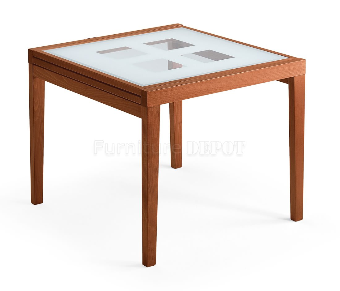 cherry finish dinette table with folding frosted glass top