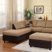 Comfort Living Sectional Sofa 9909BR Light Brown By Homelegance