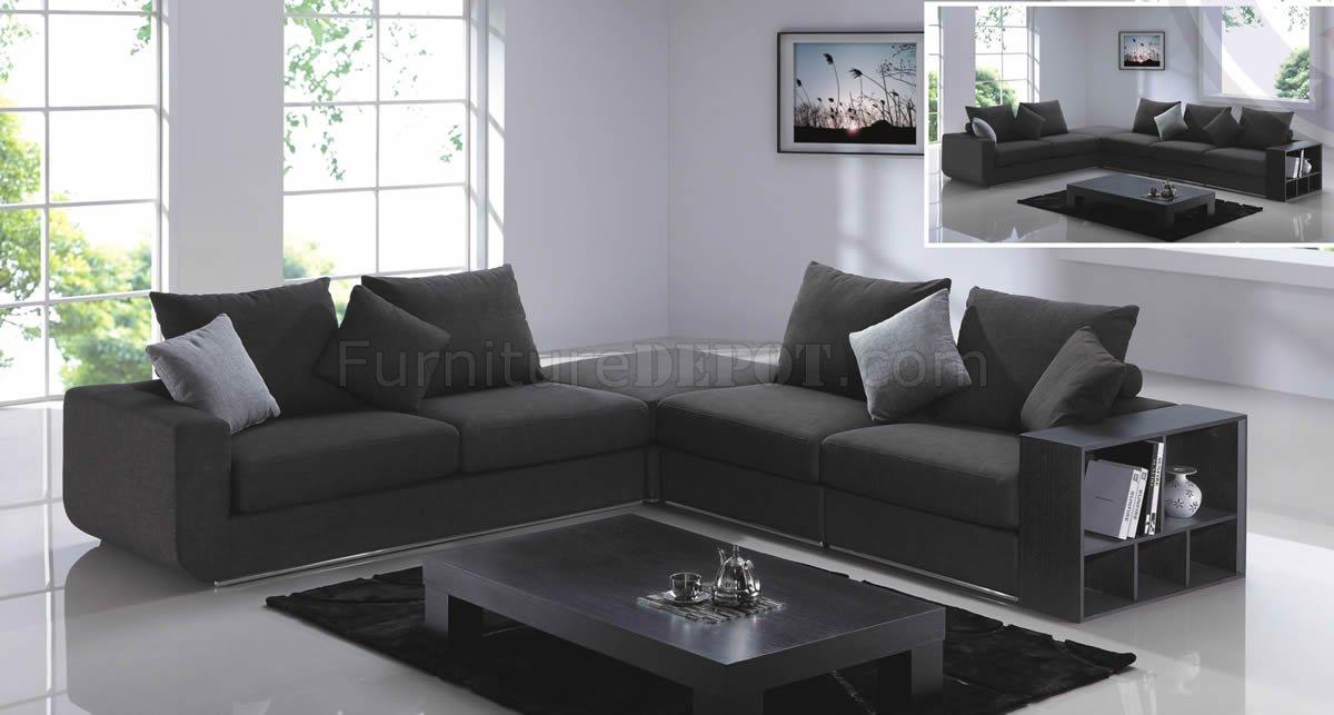 Grey Fabric Modern F8066 Sectional Sofa W Side Shelves