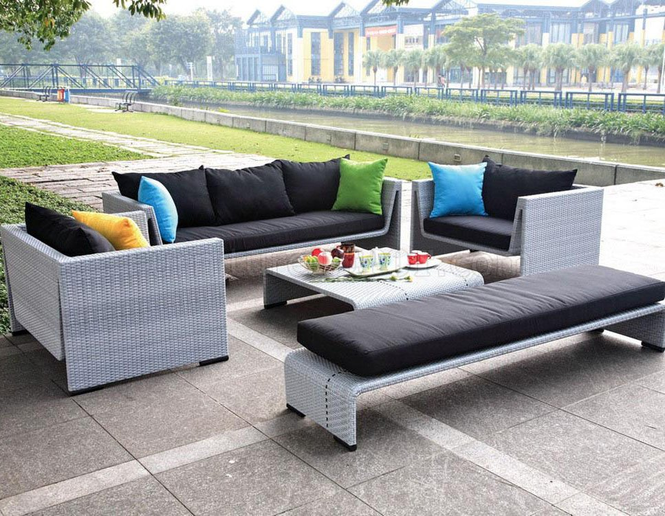 Grey finish modern 5pc outdoor sofa set for Patio decks for sale