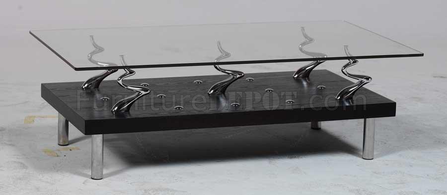 Chocolate Brown Modern Artistic Coffee Table W Glass Top
