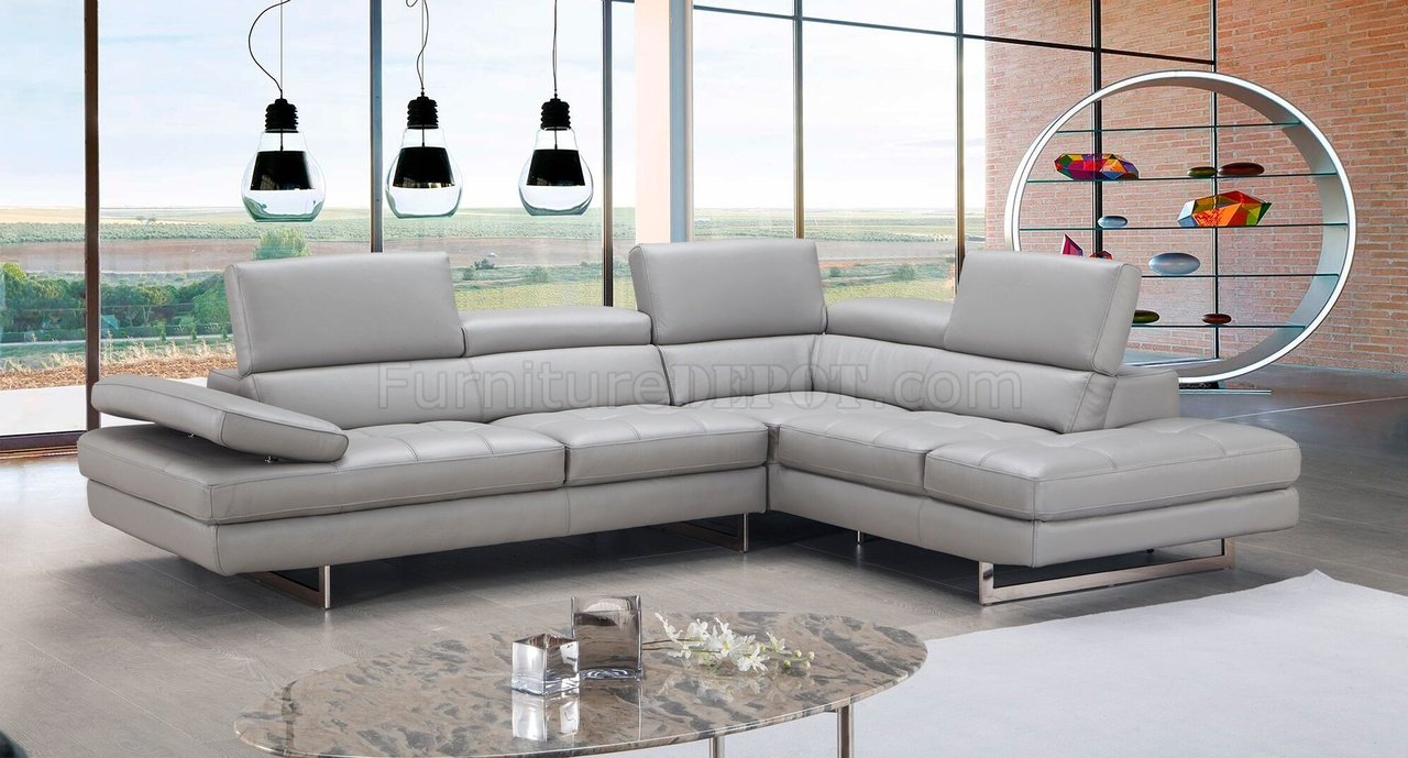 aurora sectional sofa in light grey premium leather by jm. sectional sofa in light grey premium leather by jm