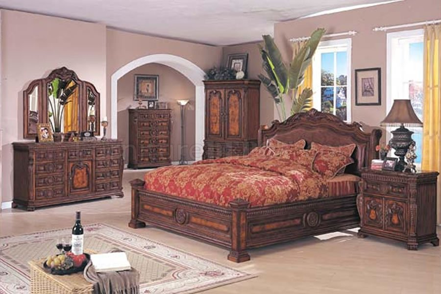 brown solid wood finish traditional bedroom set ambs 47 9700